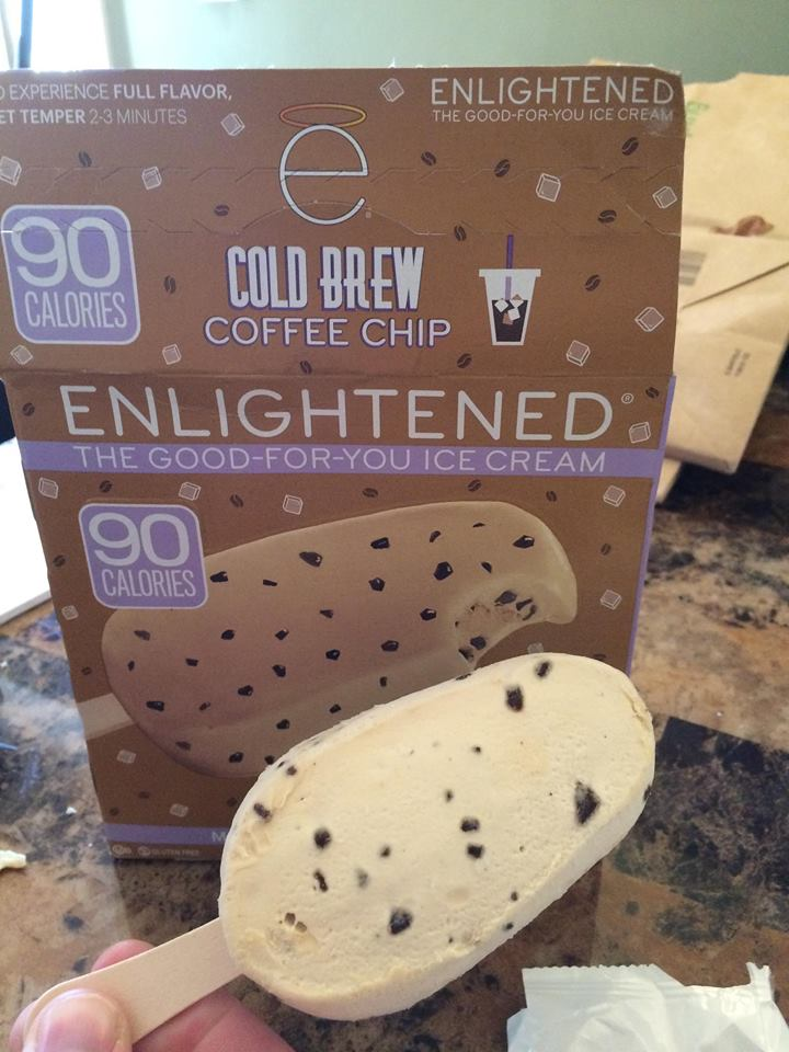 enlightened coffee chip bars are the same size as displayed on box